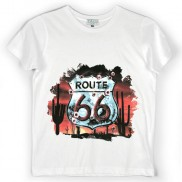 ROUTE 66 SHEILD COLOUR CHANGE CAKO KIDS CREW NECK T-SHIRT