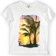SUNSET ISLAND COLOUR CHANGE CAKO KIDS CREW NECK T-SHIRT