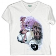 ROMA VESPA COLOUR CHANGE CAKO KIDS V NECK T-SHIRT