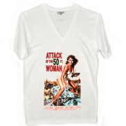 ATTACK OF 50FT WOMAN CAKO MENS COLOUR CHANGE V NECK T-SHIRT