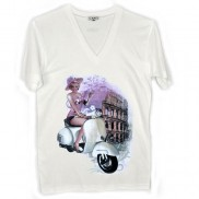 ROMA VESPA CAKO MENS COLOUR CHANGE V NECK T-SHIRT