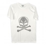 SKULL CROSS BONES CAKO MENS BEJEWELLED CREW NECK T-SHIRT