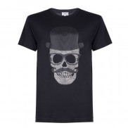 SKULL TOP HAT CAKO MENS BEJEWELLED CREW NECK T-SHIRT