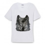WOLF CAKO BEJEWELLED SCOOP NECK T-SHIRT