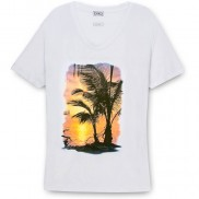 SUNSET ISLAND CAKO COLOUR CHANGE SCOOP NECK T-SHIRT