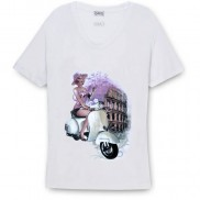 ROMA VESPA CAKO COLOUR CHANGE SCOOP NECK T-SHIRT