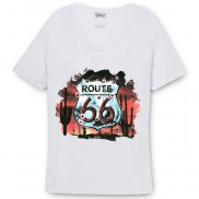 ROUTE 66 SHEILD CAKO COLOUR CHANGE SCOOP NECK T-SHIRT
