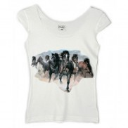 HORSES CAKO LADIES COLOUR CHANGE TRIM T-SHIRT