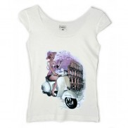 ROMA VESPA CAKO LADIES COLOUR CHANGE TRIM T-SHIRT