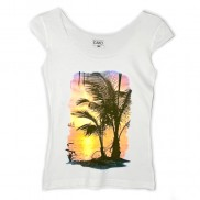 SUNSET ISLAND CAKO LADIES COLOUR CHANGE TRIM T-SHIRT