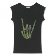 FINGERS CAKO BEJEWELLED TRIM T-SHIRT