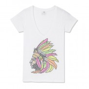 INDIAN HEADDRESS CAKO BEJEWELLED V NECK T-SHIRT
