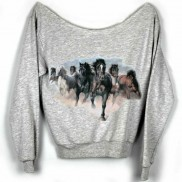 HORSES CAKO COLOUR CHANGE LADIES RAW EDGE SWEATER