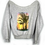 SUNSET ISLAND CAKO COLOUR CHANGE LADIES RAW EDGE SWEATER