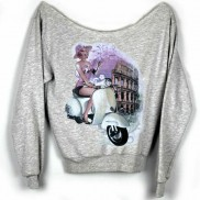 ROMA VESPA CAKO COLOUR CHANGE LADIES RAW EDGE SWEATER