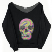 FLUO SKULL CAKO LADIES BEJEWELLED RAW EDGE SWEATER