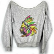 INDIAN HEADDRESS CAKO LADIES BEJEWELLED RAW EDGE SWEATER