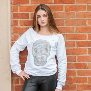 PASTEL SKULL CAKO LADIES BEJEWELLED RAW EDGE SWEATER