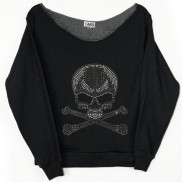 SKULL AND CROSS BONES CAKO LADIES BEJEWELLED RAW EDGE SWEATER