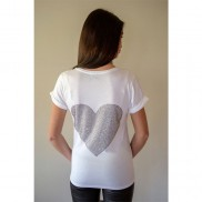 BIG HEART CAKO BEJEWELLED ROLLED SLEEVE T-SHIRT