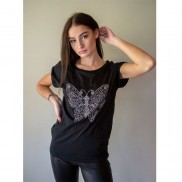 BUTTERFLY CAKO BEJEWELLED ROLLED SLEEVE T-SHIRT